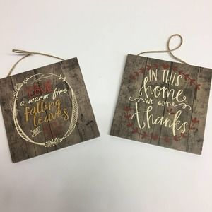 lot of 2 FALL wooden wall decor signs